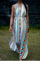 Vintage Sleeveless High Waist Printed Hollow Out Maxi Dress For Women