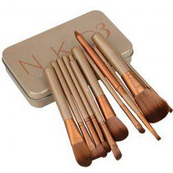 Practical 12 Pcs Fiber Makeup Brushes Set with Iron Box -