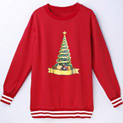 Women's Fashionable Christmas Hat Long Sleeve Round Neck Sweatshirt -