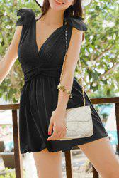 Refreshing Halter Solid Color Bowknot Embellished Women's Swimsuit -
