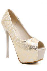 Party Lines and Stiletto Heel Design Women's Peep Toe Shoes