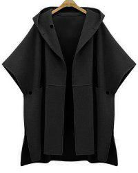 Stylish Women's Hooded Bat Sleeve Pure Color Cape Jacket - BLACK