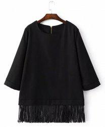 Chic Round Neck 3/4 Sleeve Loose-Fitting Fringed Women's Blouse - BLACK L