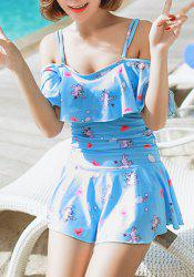 Cute Spaghetti Strap Character Print Flounced One-Piece Swimsuit For Women -