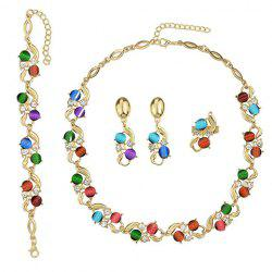 A Suit of Faux Crystal Alloy Necklace Bracelet and Earrings