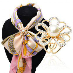 Floral Hollow Out Faux Pearl Rhinestoned Scarf Buckle Brooch - GOLDEN