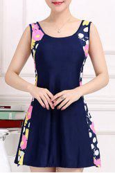 Stylish Scoop Neck Sleeveless Floral and Polka Dot One-Piece Swimsuit For Women