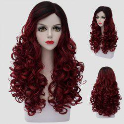 Noble Long Synthetic Fluffy Curly Fashion Black Ombre Dark Red Cosplay Wig For Women