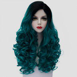 Fashion Black Turquoise Ombre Synthetic Trendy 60CM Long Fluffy Curly Cosplay Wig For Women - BLACK AND GREEN