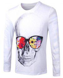 Casual Pullover Skull With Glasses 3D Printing Long Sleeve Sweatshirt For Men -
