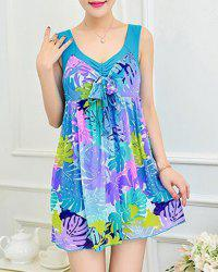 Chic V Neck Plus Size Leaf Print One-Piece Women's Swimwear