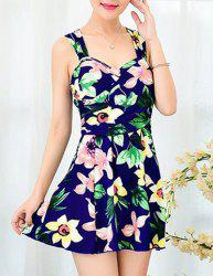 Chic Sweetheart Neck Plus Size Floral Print One-Piece Women's Swimwear -