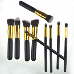 10 Pcs Wooden Handle Nylon Makeup Brushes Set -