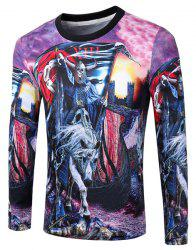 Casual Pullover Round Collar Skeleton Horse 3D Printing Long Sleeve Sweatshirt For Men