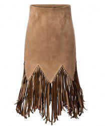 Stylish High-Waisted Solid Color Fringed Design Women's Skirt -