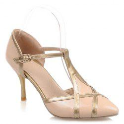 Elegant Patent Leather and T-Strap Design Women's Pumps - APRICOT