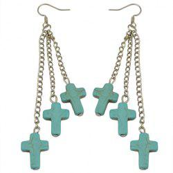 Pair of Cross Shape Faux Turquoise Drop Earrings