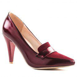 Elegant Splice and Solid Color Design Women's Pumps - WINE RED