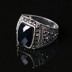 Noble Faux Gemstone Rectangle Carving Pattern Ring For Men -