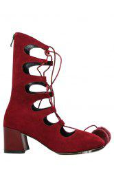 Trendy Pompon and Hollow Out Design Women's Short Boots -