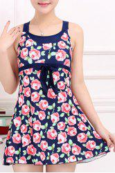 Stylish Scoop Neck Bowknot Embellished Rose Pattern One-Piece Swimsuit For Women