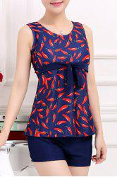 Stylish Scoop Neck Red Pepper Printed Two-Piece Swimsuit For Women - PURPLISH BLUE XL