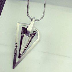 Faux Crystal Triangle Shape Pendant Sweater Chain -