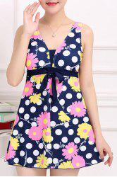 Stylish V-Neck Floral and Polka Print One-Piece Swimsuit For Women