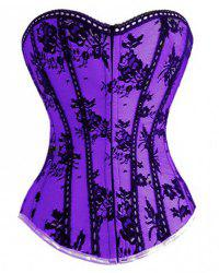 Chic Lace Spliced Strapless Back Lace-Up Corset For Women - PURPLE