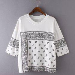 Ethnic Round Neck 3/4 Sleeve Printed Loose-Fitting Women's T-Shirt -