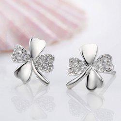 Pair of Trendy Rhinestoned Four Leaf Clover Shape Earrings For Women