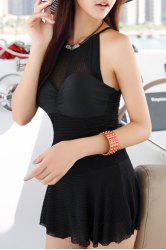 Sexy Scoop Neck Sleeveless See-Through Solid Color Women's Swimwear -