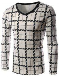 Personality Plaid Print Silky Fabric Color Block V-Neck Long Sleeves Men's Slim Fit T-Shirt -