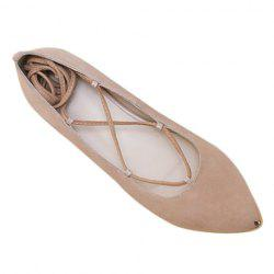 Graceful Criss-Cross and Pointed Toe Design Women's Flat Shoes - NUDE
