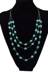 Graceful Multilayered Faux Turquoise Sweater Chain For Women -