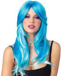 Charming Shaggy Wavy 60CM Long Synthetic Blue Side Bang Cosplay Wig For Women