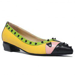 Fashionable Color Block and Rivets Design Women's Flat Shoes