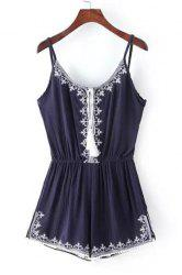 Chic Spaghetti Strap Embroidery Romper For Women - PURPLISH BLUE