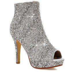Sequined Open Toe Ankle Boots -