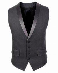 V-Neck Belt Design Single Breasted Sleeveless Solid Color Men's Waistcoat