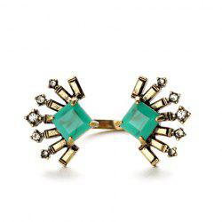 Bohemian Style Rhinestone Geometric Cuff Ring For Women