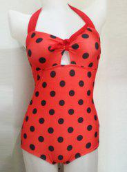 Vintage Halter Polka Dot Print Hollow One Piece Swimsuit For Women