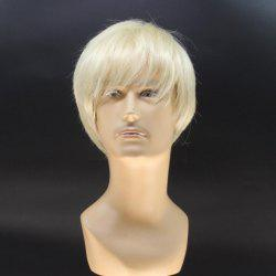 Stylish Short Straight Handsome Light Blonde Heat Resistant Fiber Wig For Men -