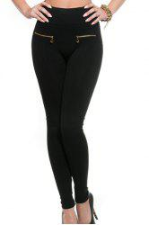 Stylish Black Two Zippers Embellished Stretchy Women's Leggings - BLACK