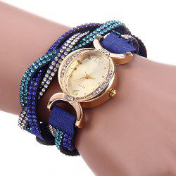 Women Bracelet Quartz Wrist Watch Rhinestone Chain - SAPPHIRE BLUE