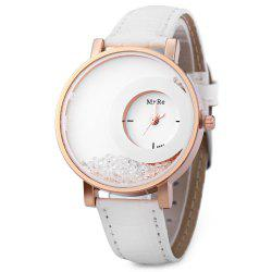Women Rhinestone Quartz Watch Leather Band - WHITE