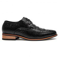 Fashion Crocodile Print and Lace-Up Design Men's Formal Shoes - BLACK