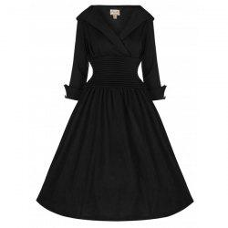 Vintage Turn-Down Collar 3/4 Sleeve Slimming Dress For Women -