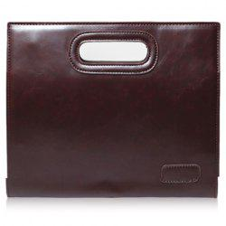 Fashionable Solid Colour and PU Leather Design Men's Clutch Bag - COFFEE
