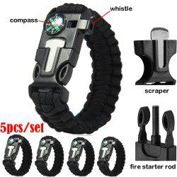 5pcs 5 in 1 Outdoor Paracord Bracelet / Fire Starter / Whistle / Compass